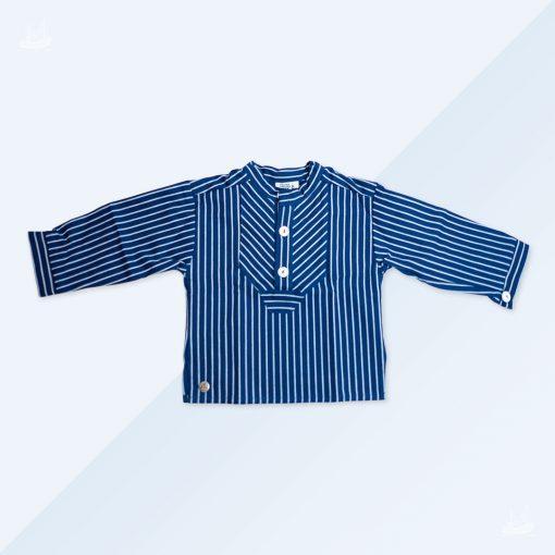 Finkenwerder Fischerhemd Kids blau breit gestreift