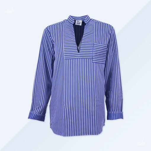 Hamburger Fischerhemd blau breit gestreift