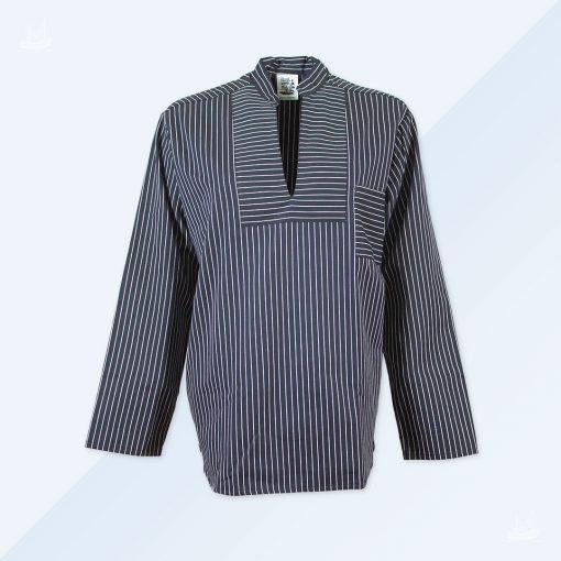 Hamburger Fischerhemd - schwarz breit gestreift