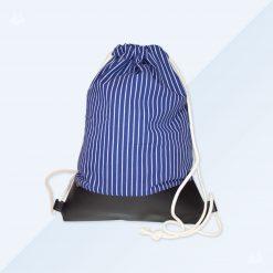 Turnbeutel - breit blau - schwarz